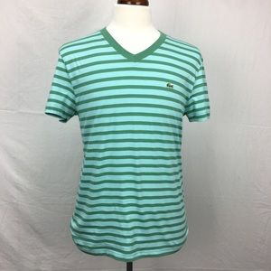 Lacoste Green/Blue striped SS V Neck T-shirt